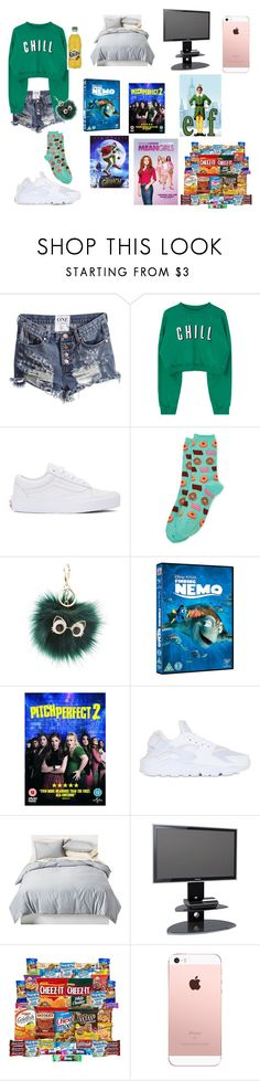"""""""lazy day"""" by kayladallaslove ❤ liked on Polyvore featuring Vans, HOT SOX, Charlotte Russe, NIKE, Room Essentials and Alphason"""