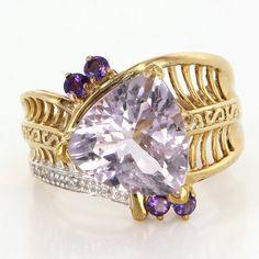 Vintage 10 Karat Yellow Gold Amethyst Diamond Statement Cocktail Ring Estate Jewelry