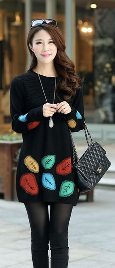 #Black Winter Tunic Knit Top YRB0609