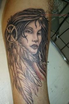 native american girl and feather tattoo