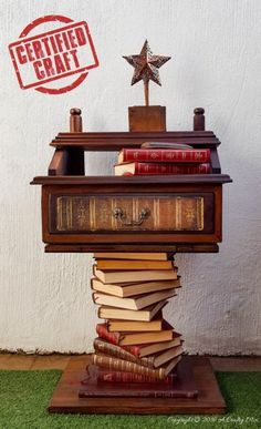 If you don't have the legs for something you can always use books to create a beautiful bookish side table. How to on the blog