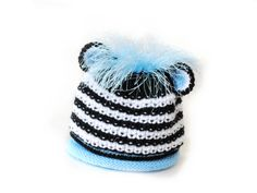 SALE 6 to 12 months Hand Knitted Zebra Hat with Mane by IraRott