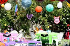 paper lanterns for backyard bbq | Near the food area, she made an eat me sign , an oversized clock from ...