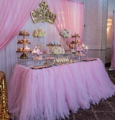 Mesa corona - Home Page Princess Party Decorations, Princess Theme Party, Girl Baby Shower Decorations, Baby Shower Princess, Pink Princess, Birthday Decorations, Baby Shower Themes, Baby 1st Birthday, Birthday Parties