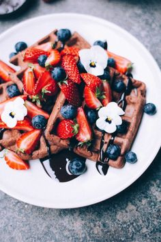 chocolate waffles & date chocolate sauce