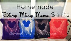 Homemade Disney Mickey Mouse Shirts - using freezer paper and bleach water. Easy!