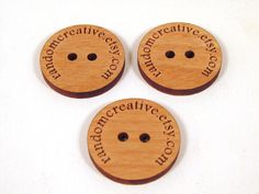 Custom Wooden Buttons - Your Shop Name or Logo - 10 Buttons