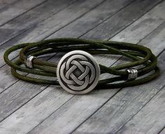 Celtic Knot Leather Bracelet  Handmade Leather Wrap Bracelet