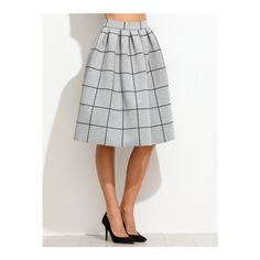SheIn(sheinside) Grey Grid Box Pleated Skirt ($24) ❤ liked on Polyvore featuring skirts, grey, tartan a line skirt, grey plaid skirt, stretch skirts, gray plaid skirt and knee length skirts