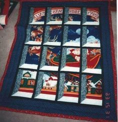 A gallery of Attic Windows quilts, with designs of all types and themes. Take a look if you love Attic Windows quilts.: Christmas Attic Windows Quilt