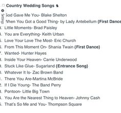 Top 15 Country Wedding Songs