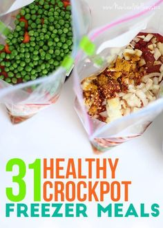 31 Healthy Crockpot Freezer Meals. Simply combine the ingredients in a gallon-sized bag and freeze. I've tried all of these recipes and they're healthy and delicious!