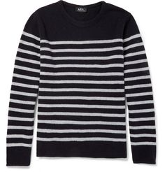 A.P.C. - Striped Knitted-Wool Crew Neck Sweater | MR PORTER