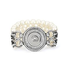 Divine Pearl Stretch Bracelet Original Snap Collection One Size Fits Most S0615--$49.99