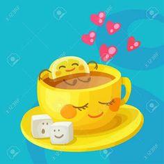 Funny food characters cup tea lemon and sugar Vector Image - Guten morgen -