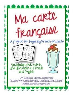 If your class is learning French food vocabulary, there is no better way to teach culture than to have students research French restaurants and create their own menu. Instructions and rubric included in French and English.See directions below. Create a F Study French, Core French, Ways Of Learning, Learning Italian, Learning Games, French Teacher, Teaching French, How To Speak French, Learn French