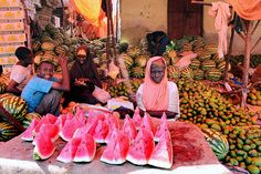 Fruit vendors in Hamarweyne market in Mogadishu, Somalia