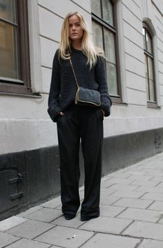 Flared trousers and Stella McCartney bag