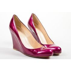 """Pre-Owned Christian Louboutin Purple Patent Leather Round """"""""Ron... ($235) ❤ liked on Polyvore featuring shoes, purple, round toe shoes, christian louboutin shoes, purple shoes, christian louboutin and patent shoes"""