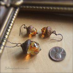 Glass Acorn Necklace and Earring Set by Bullseyebeads - Rich Autumn Tones via Etsy
