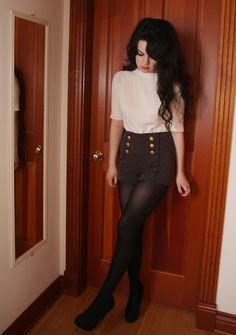 "White Cardigan, Sirens Grey Sailor Shorts, Black Tights, Aldo Platform Heels //""Sailor Shorts"" by Abbey Egeland // Shorts With Tights, Black Tights, Outfits With Tights, Brown Shorts, Denim Shorts, Looks Rockabilly, Short Outfits, Cute Outfits, Mode Alternative"