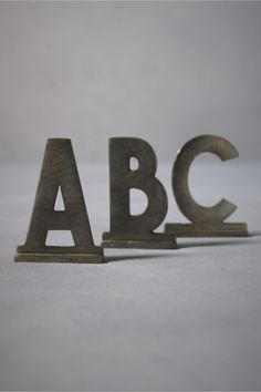 """San Serif Zinc Letters  $8.00    (2)  STYLE: 22666382    Spell it out in clean zinc. A-Z and """"&"""" available. Zinc-plated iron. Imported.    Exclusive to BHLDN  3""""H, 2-3""""W"""