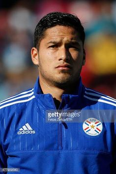 Bruno Valdez of Paraguay looks on during the national anthem ceremony prior the 2015 Copa America Chile Group B match between Uruguay and Paraguay at...