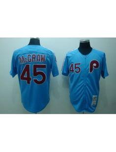 Notice :'' Package - mail cheap jerseys!!''  Philadelphia Phillies 45 Tug McGraw Blue Jerseys Throwback