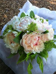 Peonies are in season & we're using them every chance we get! Here are some Festiva Maxima peonies with Queen Anne's Lace & garden greens in a bridal bouquet. Check out www.flowerempowered.com for flower arranging tips and techniques or follow us on FB facebook.com/urbanpetals // sarah von pollaro