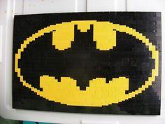 A Lego Mosaic of Batman's symbol by Dave Ware of brickwares.com
