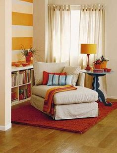 Small living room= new reading nook. Oversized armchair or chaise, bookcase, table and lamp with character! Apartment Living, Interior, Home Furniture, Cozy Nook, Home Decor, Living Spaces, Room, Room Decor, Home Deco
