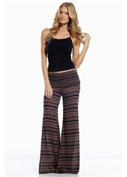 Rollover flaired pants with clinched sides