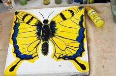 How to Paint a Swallowtail Butterfly Stepping Stone using a plain cement paver widely available at garden centers, Home Depot and Lowes. Painted Stepping Stones, Painted Pavers, Cement Pavers, Concrete, Paver Designs, Cement Crafts, Butterfly Painting, Flower Patch, Pallet Art