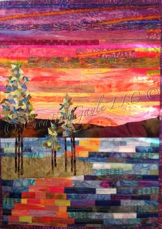 """CreatingGayleLLC Radiant Sunset Over Mountains and Water Fuel My Soul Abstract Art Quilt WM1 