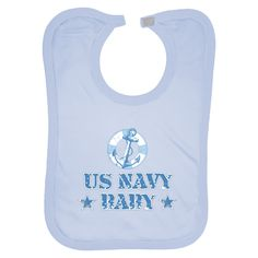 Large Baby Bibs US Navy Baby with anchor and flotation device design.Great gift for a sailor's baby boy. $14.99 www.militaryprideshop.com