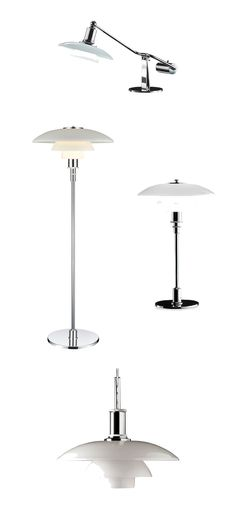 Louis Poulsen PH-Lamps designed by Poul Henningsen were designed for glare-free uniform lighting. It does this through hiding the light source and only emitting reflected light. These lamps are a staple of Danish design.