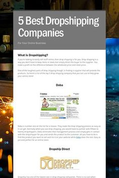 5 Best Dropshipping Companies - Dropshipping Products - Dropshipping products to start your own business - Work From Home Jobs, Make Money From Home, Way To Make Money, Make Money Online, How To Make, Business Tips, Online Business, Business Opportunities, Business School