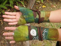 Forest folk wrap around felted arm warmers/cuffs