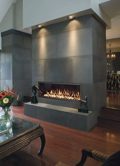 Cost of Converting Wood Burning Fireplace to Gas: Wood burning fireplaces are gr… - Wood Burning Fireplace Inserts Linear Fireplace, Concrete Fireplace, Concrete Tiles, Fireplace Wall, Fireplace Surrounds, Fireplace Design, Fireplace Ideas, Fireplace Facade, Freestanding Fireplace