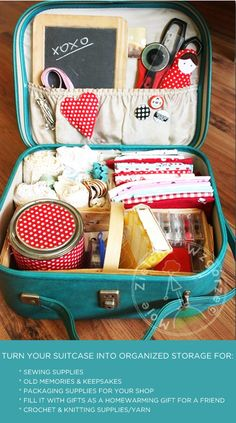 lots of different ideas for vintage suitcases!
