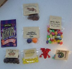 harry potter candy we could probably put these together easily.  Jellybelly lets you customize flavors/colors too