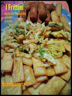 Fritti siciliani!  Panelle, verdure e crocchette di patate. .....homemade recipe&photo @cynthiacerta♡