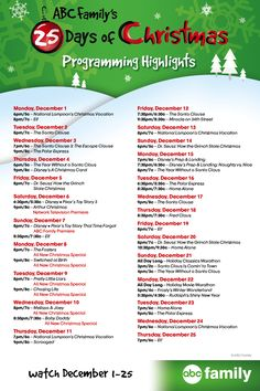 graphic about Abc Family 25 Days of Christmas Printable Schedule named Abc 25 Times Of Xmas 2017 Routine