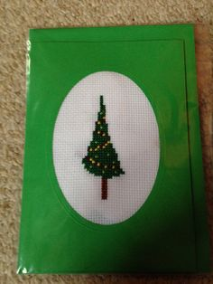 Handmade Cross Stitched Quirky Christmas Tree card on Etsy, £2.00