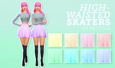 10 pastel recolours of youn-zoey's gorgeous high-waisted skater skirt.More information and download at my blog.