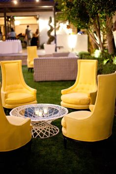 Cocktail Hour Chairs    #Yellow   Photography: Birds of a Feather   See the wedding on #SMP: http://www.stylemepretty.com/2013/03/01/modern-palm-springs-wedding-from-birds-of-a-feather/