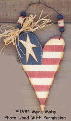 000160 (12) Heart Flags-Heart, Flag, americana, patriotic, Myra Mahy, country faces, wood crafts, wood blanks, wood kits, decorative painting, tole painting, woodshop, woodshop in wv