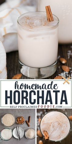 This authentic homemade Horchata recipe, made from rice, almonds, milk, sugar, cinnamon, and vanilla, is so delicious and perfectly sweet. You'll need at least twelve hours to make this wonderful creamy authentic Mexican drink because of how long it takes for the rice and almonds to soak, but it is so worth it! Homemade Horchata, Horchata Recipe, Mexican Drinks, Infused Water Recipes, Alcohol Recipes, Cocktails, Cocktail Recipes, Smoothie Recipes, Smoothies
