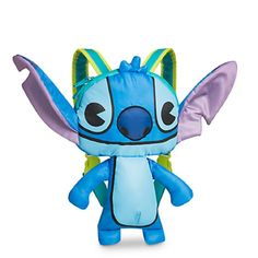 Disney Stitch MXYZ Kid's Character Backpack. Figural nylon Stitch backpack. Head compartment features zip fastener and central divider. Stuffed body, arms, and ears. Adjustable padded shoulder straps. 14'' H x 24'' W x 3'' D.