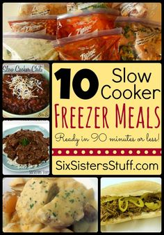 10 Slow Cooker Freezer Meals- all the recipes, shopping lists, and side dish ideas in one place. And, they can be assembled in less than 90 minutes!